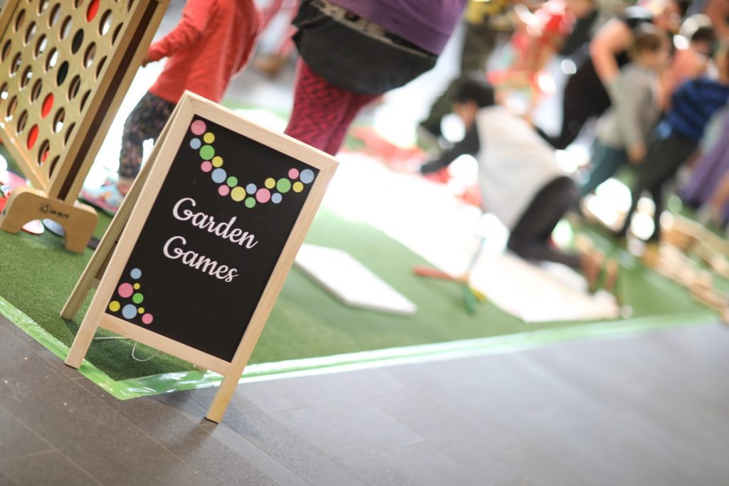 Garden games event at a shopping centre