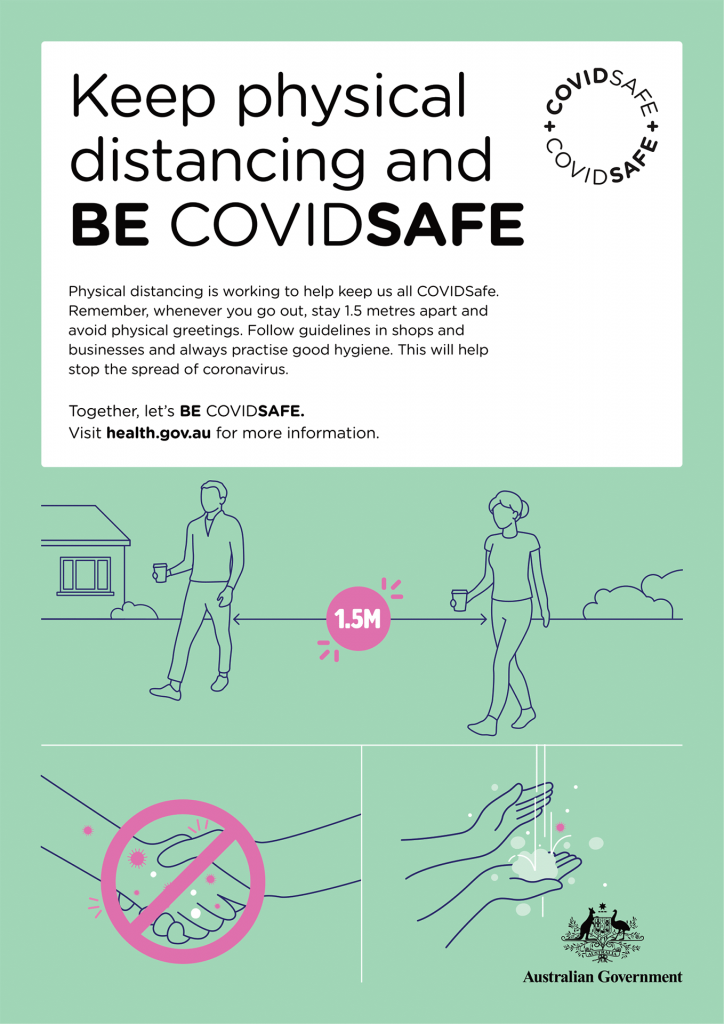 Physical distancing is working to help keep us all COVIDSafe. Remember, whenever you go out, stay 1.5 metres apart and avoid physical greetings. Follow guidelines in shops and businesses and always practise good hygiene. This will help stop the spread of coronavirus.