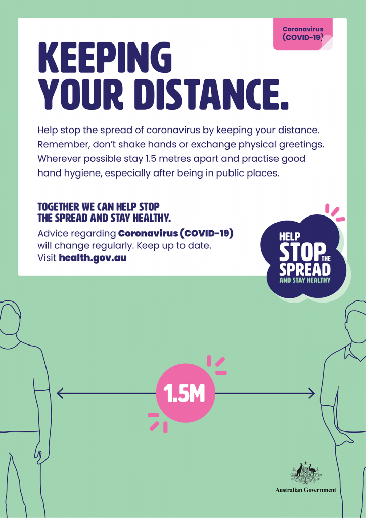 This poster provides ways to keep your distance from others and help stop the spread of COVID-19.